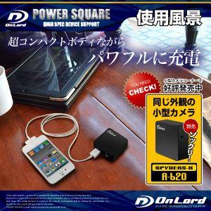 【スパイダーズX公式オプション】 ポータブルバッテリーPOWERSQUARE2800(PB-150K)ブラック 大容量2800mAh 同型小型カメラとペアで使えるモバイル充電器 f04