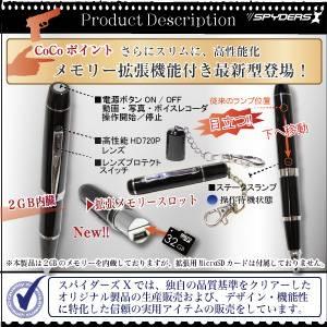 【防犯用】【小型カメラ】ペン型スパイカメラ(スパイダーズX-P113α)MAX60FPS/2GB内蔵+拡張メモリ最大32GB対応:Colorシルバー
