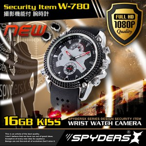 【防犯用】【超小型カメラ】【小型ビデオカメラ】 腕時計 腕時計型 スパイカメラ スパイダーズX (W-780) フルハイビジョン 赤外線 16GB内蔵 ウレタンバンド - 拡大画像
