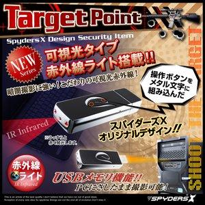 【防犯用】【超小型カメラ】【小型ビデオカメラ】 USBメモリ型 スパイカメラ スパイダーズX (A-450B) ブラック 720P 赤外線撮影 デザインボタン h02