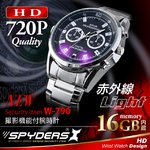 【防犯用】 【超小型カメラ】 【小型ビデオカメラ】 腕時計 腕時計型 スパイカメラ スパイダーズX (W-790) 720P 赤外線ライト 16GB内蔵