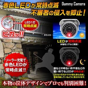 【ダミーカメラ 屋外、防犯カメラ、監視カメラ】 防雨暗視型ソーラーバッテリー付 オンサプライ (OS-174) シルバー 赤色LEDが常時点滅 赤外線 防雨タイプ h02