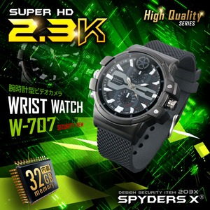 【防犯用】【超小型カメラ】【小型ビデオカメラ】 腕時計型 スパイカメラ スパイダーズX (W-707) 2.3K 60FPS 32GB内蔵 - 拡大画像