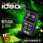キーレス型カメラ スパイダーズX (A-204) 1080P モニター付 動画再生 WDR機能 64GB対応