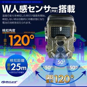 【監視カメラ】【防犯カメラ】【SDカード式録画装置内蔵】 屋外 防塵防水 Wセンサーカメラ (OL-501) 超強力赤外線LED PIR 人感センサー 暗視撮影 乾電池式 配線不要
