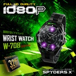 【防犯用】【超小型カメラ】【小型ビデオカメラ】 スパイダーズX 腕時計型カメラ 防犯カメラ 赤外線LED 32GB内蔵 1080P スパイカメラ W-708の画像