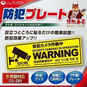 オンサプライ(OnSUPPLY)防犯セキュリティプレート「防犯カメラ作動中」PP製多言語対応OS-289【2枚セット】