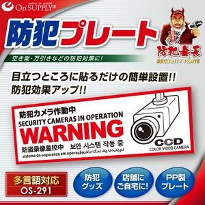 オンサプライ(OnSUPPLY)防犯セキュリティプレート「防犯カメラ作動中」PP製多言語対応OS-291【2枚セット】