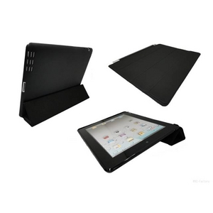 【ipad2専用】スリムスマートカバー&スリムバックカバー(No指紋)&高性能ペン型スタイラス&保護シート4点セット ブラック