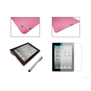 【ipad2専用】スリムスマートカバー&スリムバックカバー(No指紋)&高性能ペン型スタイラス&保護シート4点セット ピンク