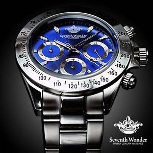 Seventh Wonder(セブンス・ワンダー) クロノグラフ メンズ 腕時計 NAVY SW0193 - 拡大画像