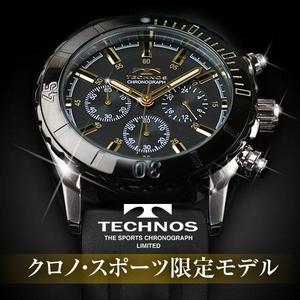 TECHNOS(テクノス) クロノ・スポーツ 限定モデル ブラック/ゴールド メンズ 腕時計 T2163SH - 拡大画像