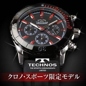 TECHNOS(テクノス) クロノ・スポーツ 限定モデル ブラック/レッド メンズ 腕時計 T2163SR - 拡大画像