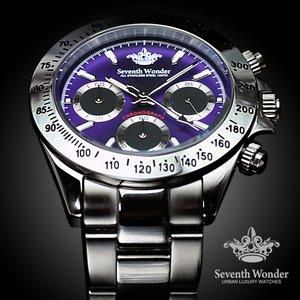 Seventh Wonder(セブンス・ワンダー) クロノグラフ THE THIRD EYE メンズ 腕時計 PURPLE SW0194 - 拡大画像