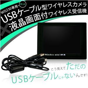 USBケーブル型ワイヤレスカメラ 液晶画面付ワイヤレス受信機