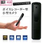 【microSDカード4GBセット】 ボイスレコーダー型 小型ビデオカメラ ハイビジョン対応(S3000-4GB)