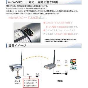 【ワイヤレス 防犯カメラ】 【microSDカード16GBセット】防滴仕様/赤外線搭載 2.4GHz ワイヤレス小型防犯カメラ&受信機セット 24-WLS-REC-16GB