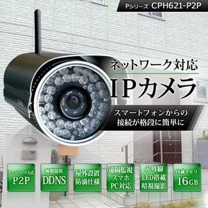 【防犯カメラ】【内蔵メモリ16GB】 ネットワークカメラ(IPカメラ) Pシリーズ IP-CPH621-P2P - 拡大画像