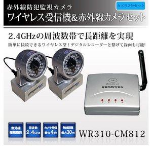 【送料無料】【防犯用】【防犯カメラ2台セット】2.4GHzワイヤレス小型受信機& 赤外線搭載 ワイヤレス小型カメラ!設置が簡単!【NET-WR310-CM812×2】
