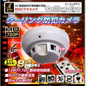 【送料無料】【防犯用】 【小型カメラ】 【メモリ内蔵8GB】 『Ceiling-Eye』(シーリングアイ)火災報知器タイプ 【ACアダプター付属】