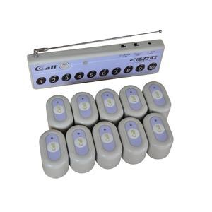 ワイヤレスチャイム 『くるかむ 10席用セット』 受信機1台+送信機10台(パープル) - 拡大画像