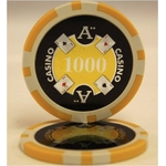 Quattro Assi(クアトロ・アッシー)ポーカーチップ(1000)黄 <25枚セット>