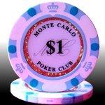 MONTECARLO モンテカルロ・ポーカーチップ<1>白 25枚セット