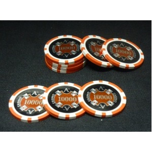 Quattro Assi(クアトロ・アッシー)ポーカーチップ(10000)橙 <25枚セット>