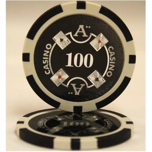 Quattro Assi(クアトロ・アッシー)ポーカーチップ100枚セット<ブラック(100)>