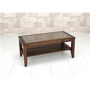 強化ガラスセンターテーブル/バンブーローテーブル 【90cm×45cm】 木製(天然木)/竹 - 拡大画像