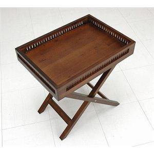 バンブーサイドテーブル(折りたたみテーブル) 木製(竹) アジアンティーク 天板取り外し可 - 拡大画像