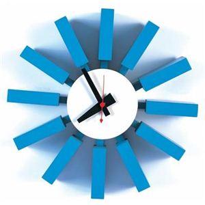 ネルソンブロッククロック(壁掛け時計) 木製(天然木)/鉄板/スチール板 幅30cm ミッドセンチュリー 【完成品】