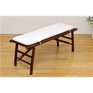 バンブー折りたたみベンチ 幅117cm 木製 クッション/洗えるカバー付き アジアン調 【完成品】 - 拡大画像