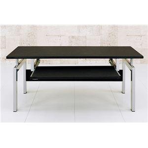 ロータイプPCデスク/パソコンデスク 【幅90cm】 ブラック(黒) スチールパイプ脚 スライドテーブル付き