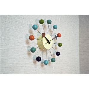 ネルソンボールクロック マルチ(壁掛け時計) 木製/真鍮/鉄板 幅34cm ミッドセンチュリー 【完成品】 - 拡大画像