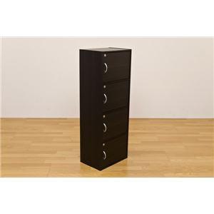 鍵付きラック(鍵付きカラーボックス/ロッカー) 【4段】 幅42cm×奥行29cm ウォールナット