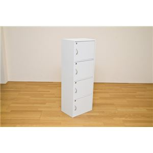 鍵付きラック(鍵付きカラーボックス/ロッカー) 【4段】 幅42cm×奥行29cm ホワイト(白)