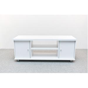 扉付き収納テレビ台/テレビボード 【幅120cm】 可動棚付き ホワイト(白)