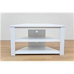 コーナーテレビ台/テレビボード 【幅80cm】 ホワイト(白) 『Wega』 コード穴付き の画像