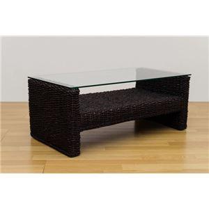 アジアン調センターテーブル/ローテーブル 【長方形 ブラウン】 幅102cm 天然木/強化ガラス製天板 『ABACA』