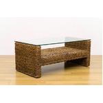 アジアン調センターテーブル/ローテーブル 【長方形 ナチュラル】 幅102cm 天然木/強化ガラス製天板 『ABACA』 の画像