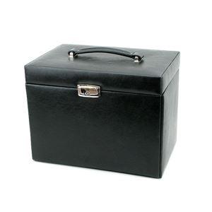 ジュエリーボックス/ジュエリーケース (BESTA) 合成皮革/ミラー 幅27cm 鍵/収納ポーチ付き ブラック(黒)