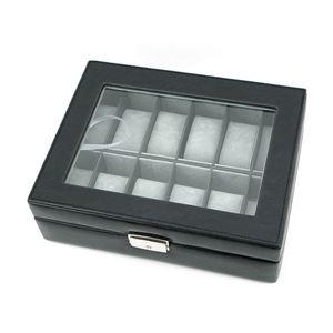 ウォッチケース(腕時計コレクションケース) 【12本用】 合成皮革/アクリル 鍵付き ブラック(黒) - 拡大画像