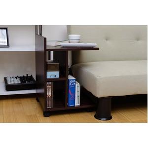 キャスター付きサイドテーブル 5段階調節可棚板1枚付き ダークブラウン