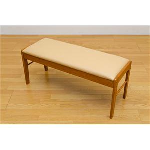 ダイニングベンチ/ダイニングチェア 幅102cm 木製(天然木)/合成皮革 ライトブラウン - 拡大画像