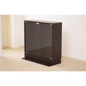 コレクションラック/収納棚 【深型 ダークブラウン】 ロータイプ 高さ90cm 強化ガラス扉/棚板 可動棚付き - 拡大画像