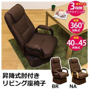 リビング座椅子(リクライニングチェア/回転椅子) 昇降式肘付き ブラウン 【完成品】
