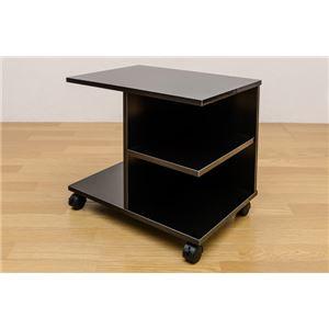 【訳有り アウトレット品】キャスター付きサイドテーブル/ミニテーブル 【幅54cm】 ブラック(黒) 収納棚付き