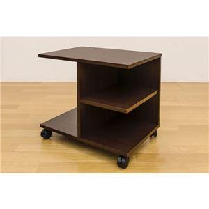【訳有り アウトレット品】キャスター付きサイドテーブル/ミニテーブル 【幅54cm】 ウォールナット 収納棚付き
