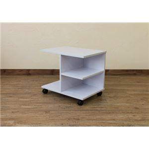 【訳有り アウトレット品】キャスター付きサイドテーブル/ミニテーブル 【幅54cm】 ホワイト(白) 収納棚付き